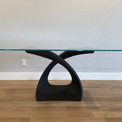 Pedestal metal table base for glass top, very elegant and artistic