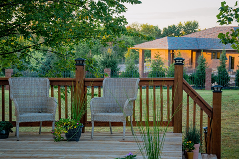 A patio in a green outdoor space