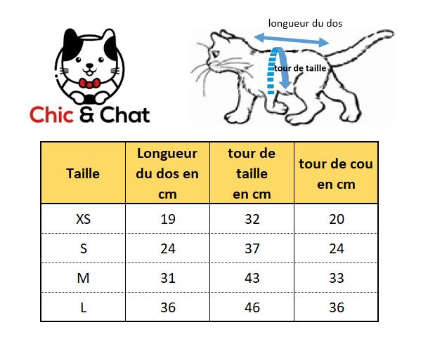 t shirt pour chat guide taille