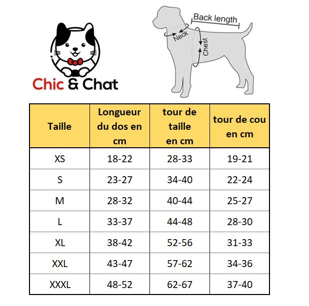 sweat pour chat chiens guide taille