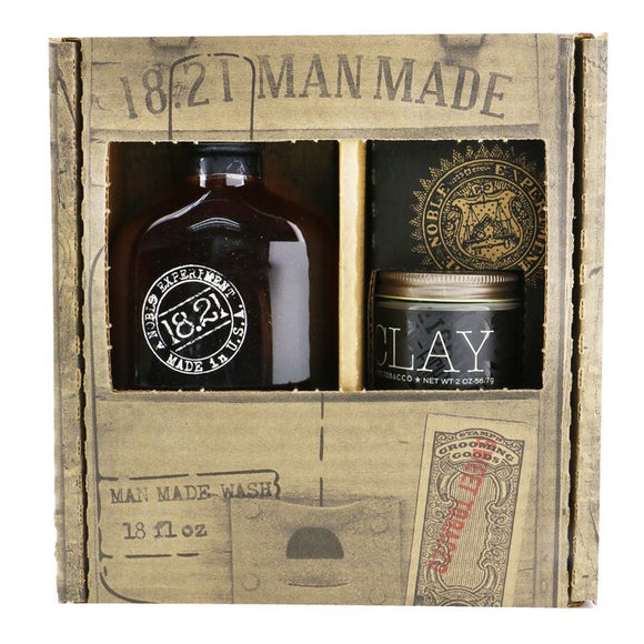 18.21 Man Made Man Made Wash & Clay Set - No. Sweet Tobacco: 1x Shampoo, Conditioner & Body Wash 530ml + 1x Hair Clay 56.7g 2pcs