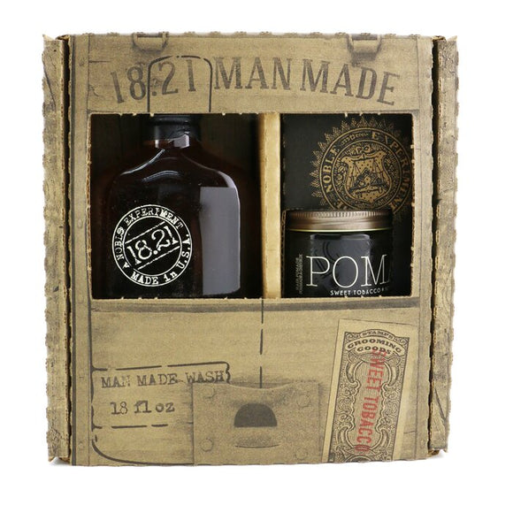18.21 Man Made Man Made Wash & Pomade Set - No. Sweet Tobacco: 1x Shampoo, Conditioner & Body Wash 530ml + 1x Hair Pomade 56.7g 2pcs