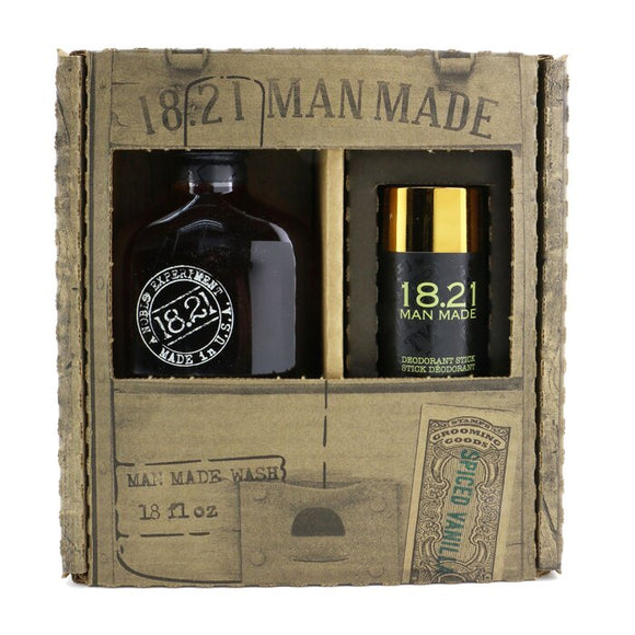 18.21 Man Made Man Made Wash & Deodorant Set - No. Spiced Vanilla: 1x Shampoo, Conditioner & Body Wash 530ml + 1x Deodorant Stick 75g 2pcs