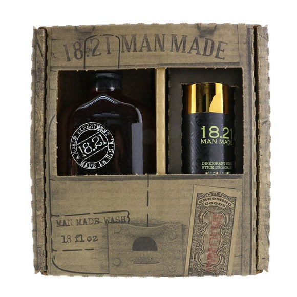 18.21 Man Made Man Made Wash & Deodorant Set - No.Sweet Tobacoo: 1x Shampoo, Conditioner & Body Wash 530ml + 1x Deodorant Stick 75g 2pcs
