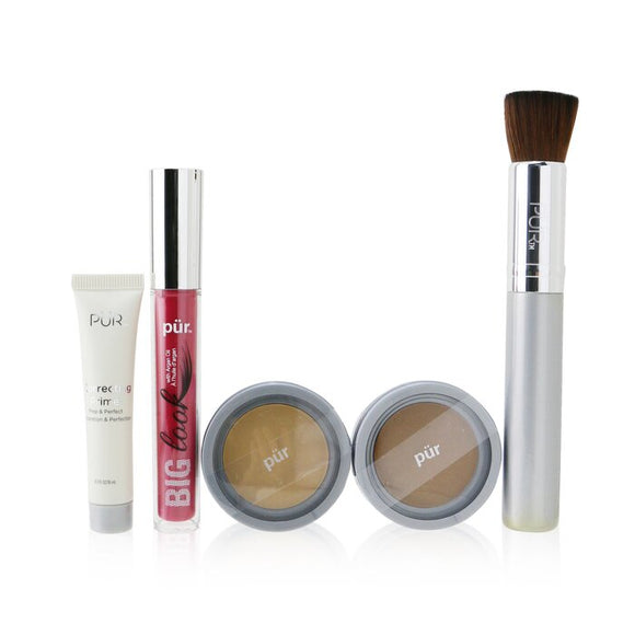 PUR (PurMinerals) Best Sellers Kit (5 Piece Beauty To Go Collection) (1x Powder, 1x Primer, 1x Bronzer, 1x Mascara, 1x Brush) - No. Light Tan 5pcs