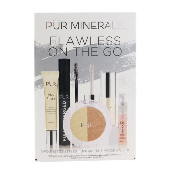 PUR (PurMinerals) Flawless On The Go 5 Piece Bestsellers Kit (1x Mini Primer, 1x Mascara, 1x Mineral Glow, 1x Mini Lip Oil, 1x Mini Mist) 5pcs