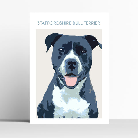 Black Stafordshire Bull Terrier Print