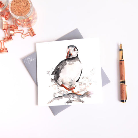 Puffin Watercolour by Meg Hawkins