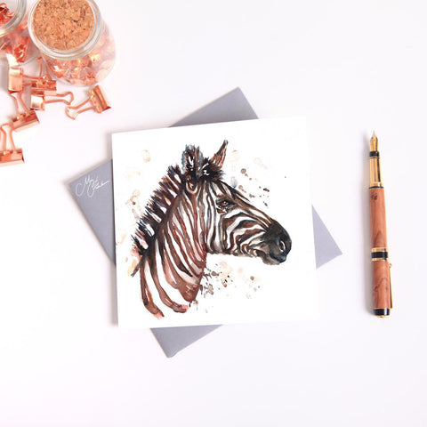 Zebra Watercolour Card by Meg Hawkins