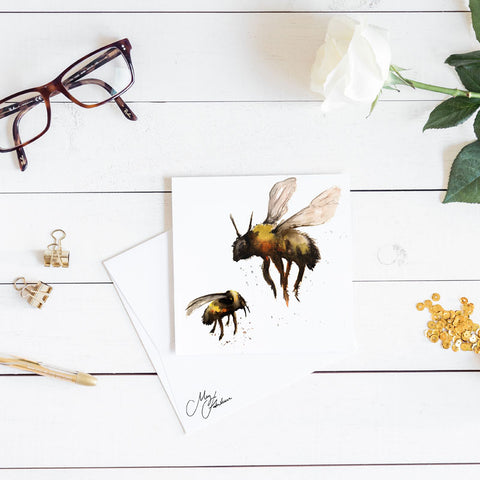 BUMBLE BEES WATERCOLOUR BY MEG HAWKINS