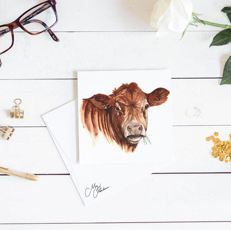WATERCOLOUR PRINT OF A BROWN COW BY MEG HAWKINS
