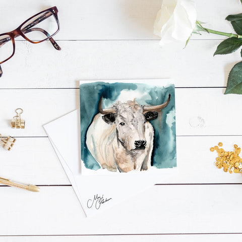 WHITE CATTLE WATERCOLOUR PRINT BY MEG HAWKINS