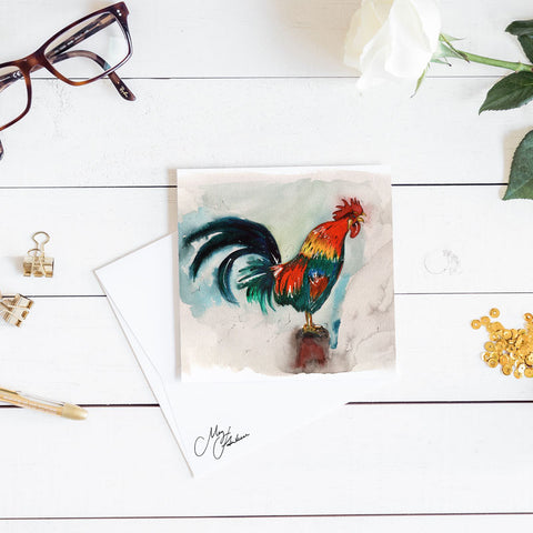ROOSTER WATERCOLOUR BY MEG HAWKINS