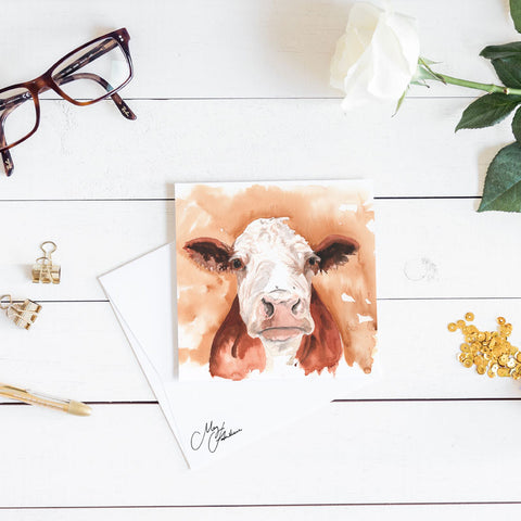 HEREFORD COW WATERCOLOUR PRINT BY MEG HAWKINS