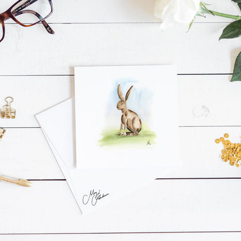 hare watercolour for children's room by meg hawkins