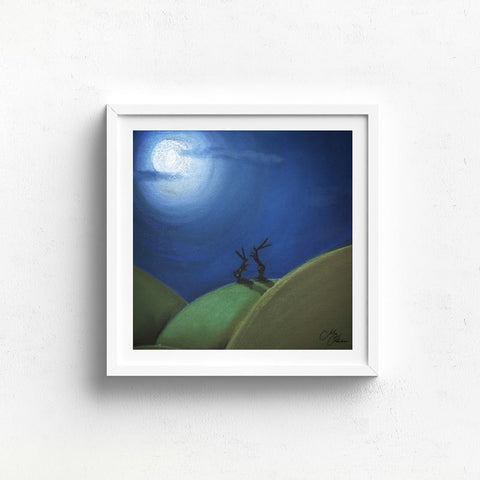 FOLLOW THE MOON 2  - HARE PASTEL DRAWING PRINT