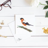 BULL FINCH WATERCOLOUR PRINT BY MEG HAWKINS