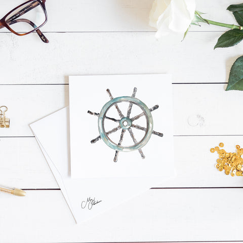 ships wheel watercolour by meg hawkins