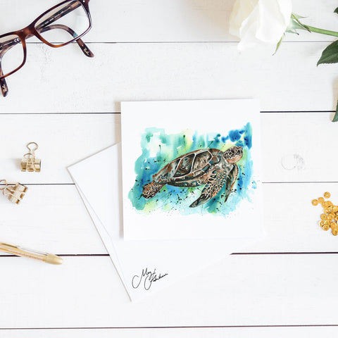TURTLE WATERCOLOUR PRINT BY MEG HAWKINS