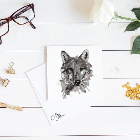 WOLF WATERCOLOUR PRINT BY MEG HAWKINS