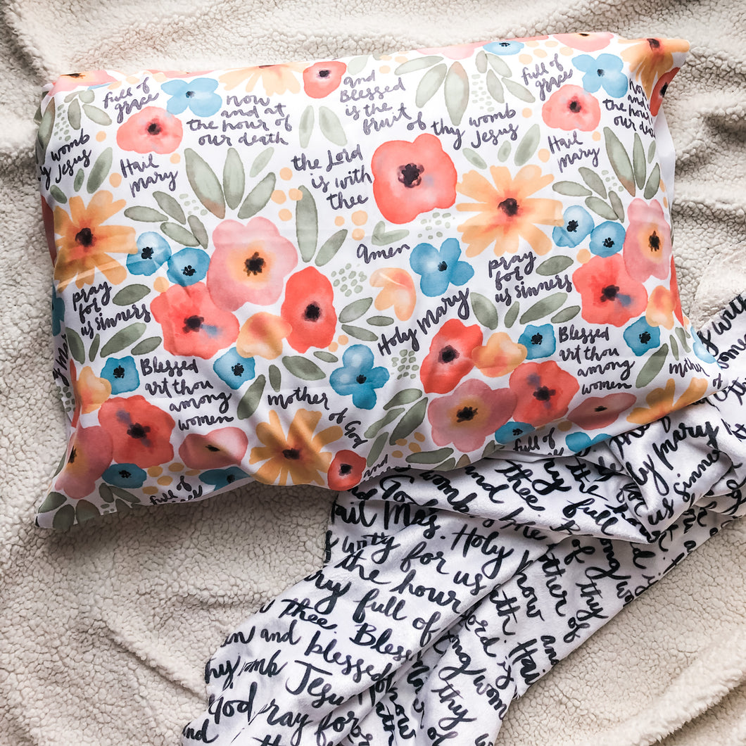 Floral Watercolor Hail Mary Prayer Pillowcase