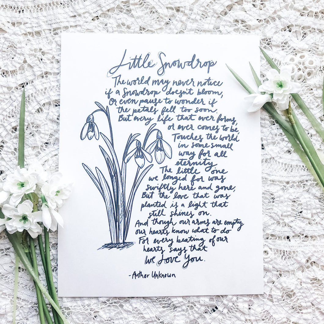 Little Snowdrop Poem, Miscarriage, Infant Loss, Printable Download