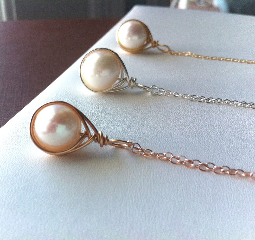 Pearl Drop Necklace, Freshwater, Classic