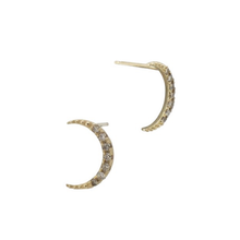 Load image into Gallery viewer, Champagne Diamond Crescent Earrings