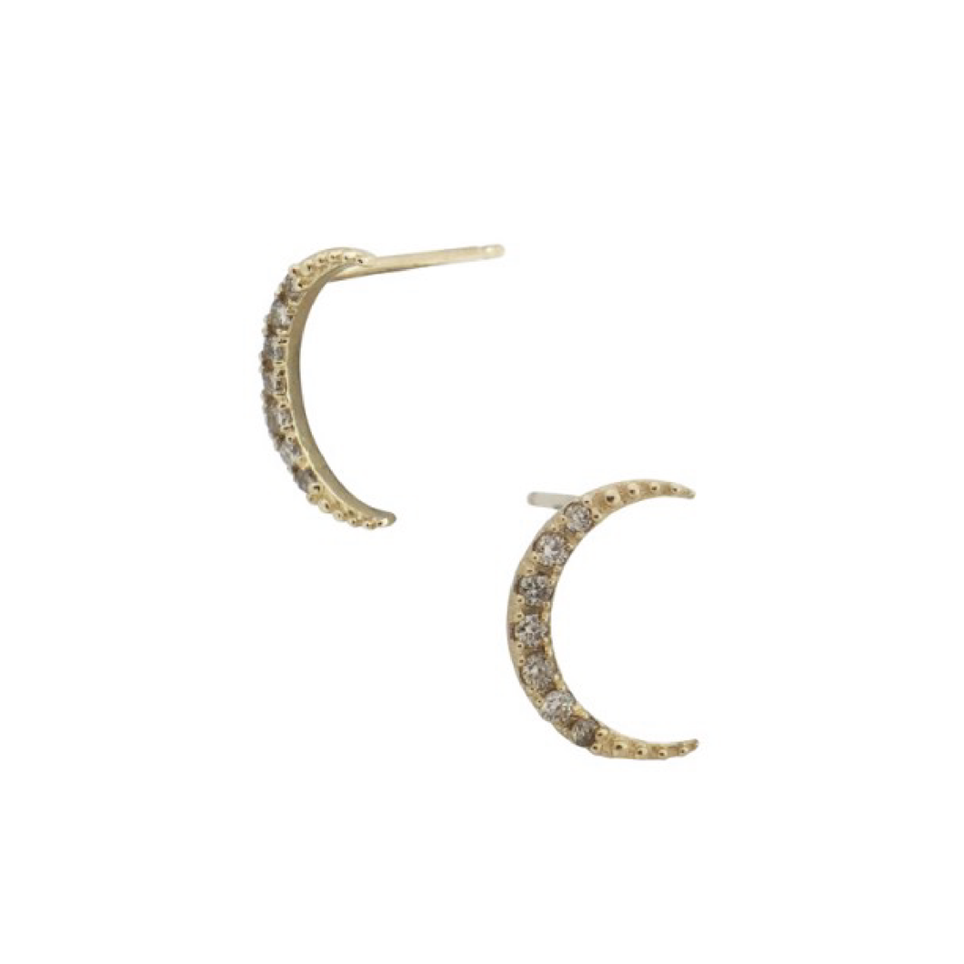 Champagne Diamond Crescent Earrings