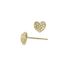 Load image into Gallery viewer, Petite Diamond Heart Earrings