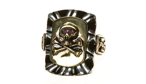 Large Mexican Skull Ring - Two Tone