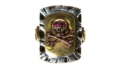 Large Mexican Skull Ring - Three Tone