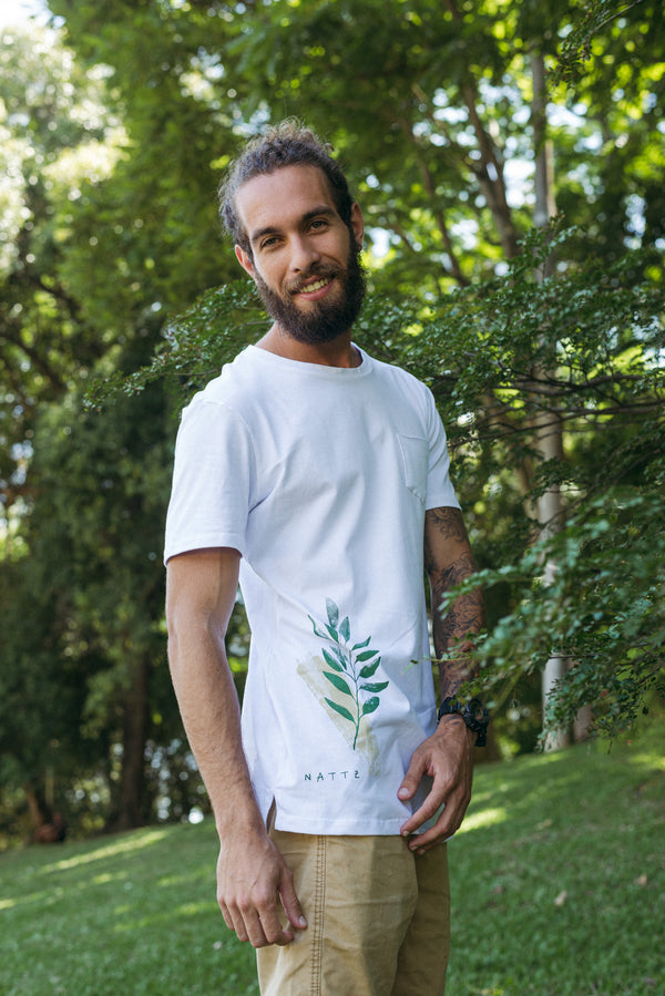 Camiseta Longline Nature Leaf Brush