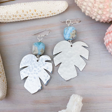 Hammered Silver Monstera Earrings