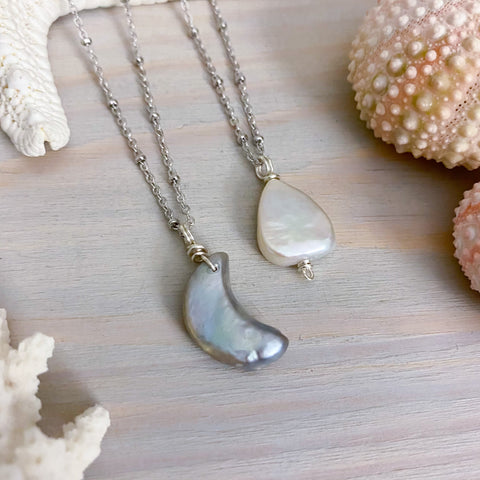Freshwater Pearl Teardrop or Moon Necklace