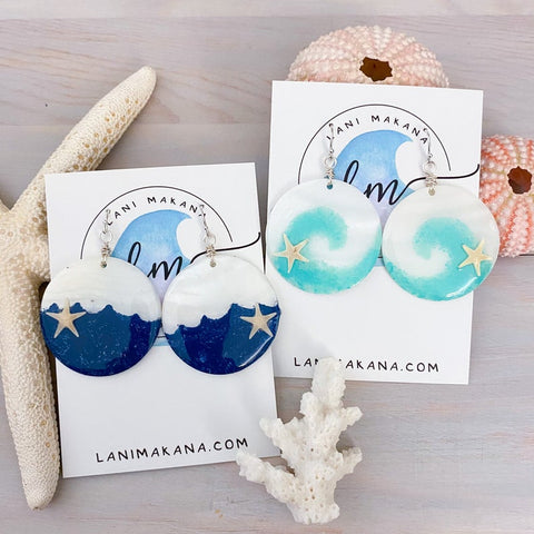 Hand Painted Wave Mother of Pearl Earrings