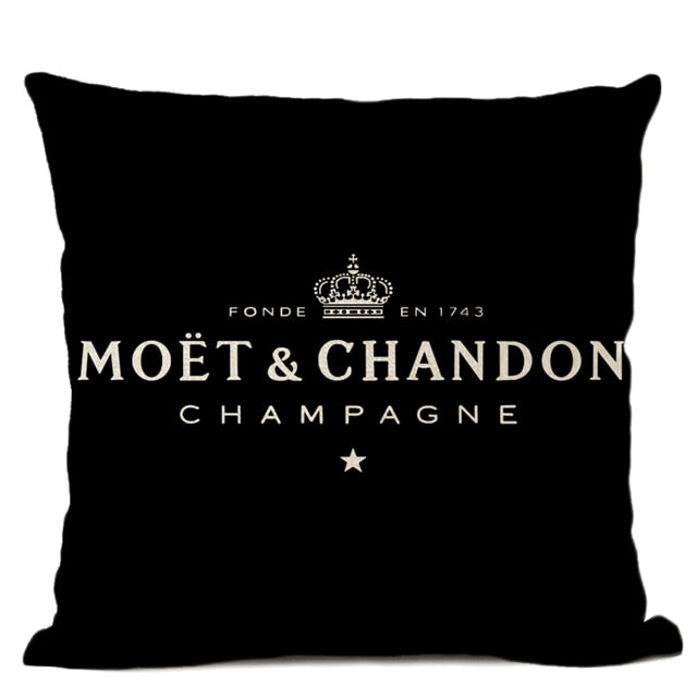 Black Linen Luxury Decorative Pillow Case High Quality Printing Text Luxury White Hotel Home Sofa Cushion Cover 45 * 45CM