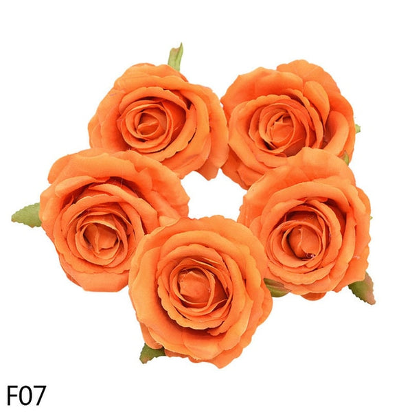 NEW 5/10pcs 10cm Artificial Flowers Head Silk Rose Flower For Wedding Home Decoration Fake Flowers DIY Wreath Scrapbook Supplies