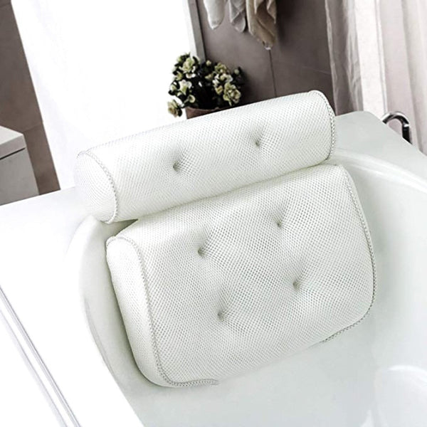 Spa Non-Slip Bath Pillow Cushioned Bath Tub Spa Pillow Bathtub Head Rest Pillow With Suction Cups For Neck Back Bathroom Supply