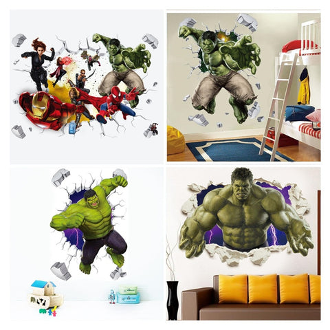 3D  avengers  wall stickers  living room bedroom wall decoration Super hero movie poster wall stickers for kids rooms