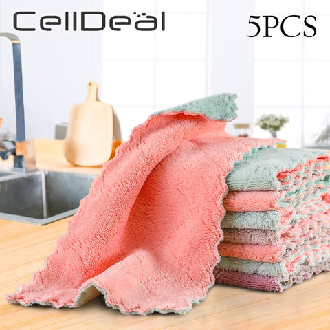 1/5pcs Is Cheaper Double-layer Absorbent Microfiber Kitchen Dish Cloth Non-stick Oil Household Cleaning Wiping Towel Kichen Tool