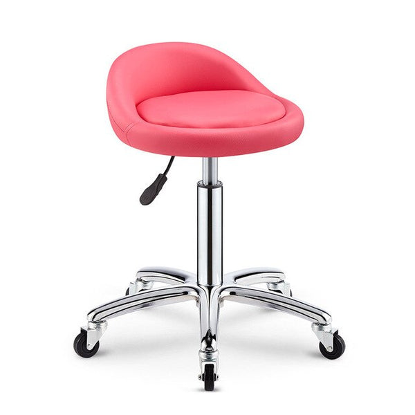 Pink Bar Chair Lifting Rotating Bar Stool Chairs Home Swivel Chair High Stool PU Backrest Beauty Stool with Wheel 47-59cm High