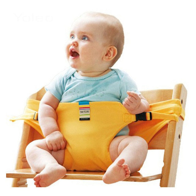 Portable Baby Seat Kids Chair Travel Foldable Washable Infant Baby Lunch Dining Cover Seat Safety Belt Feeding Cotton High Chair
