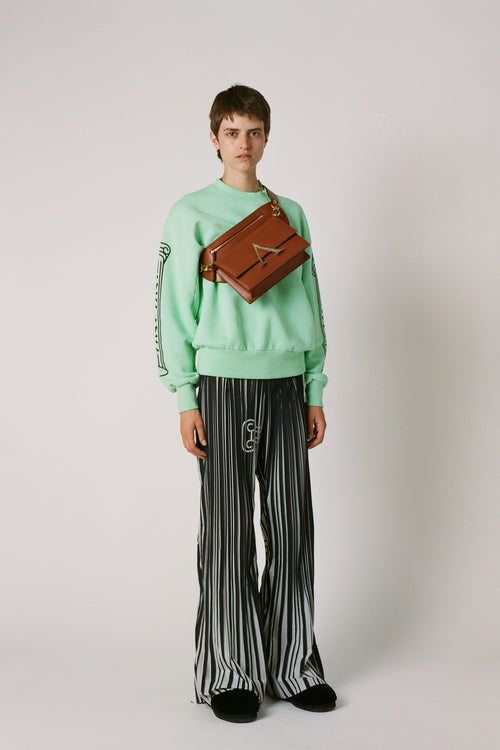 Pleated Graphic Bell Bottoms