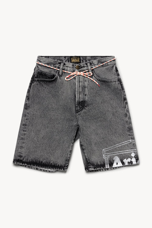 Temple Acid Wash Denim Shorts