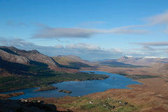 The Inagh valley Connemara with the twelve Bens mountain range, beautiful blue skies
