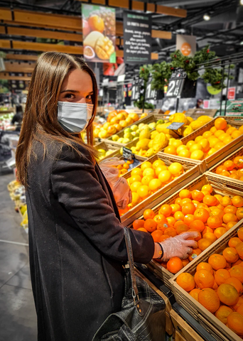 fruit at grocery stores with stickers - plastic pollution