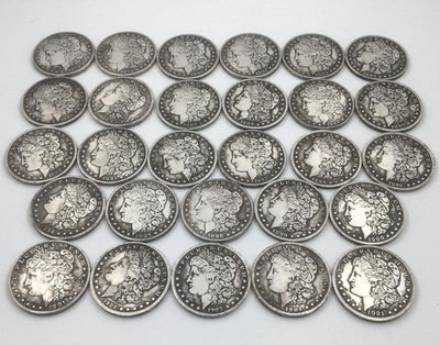 28 Morgan Coins Of Different Ages - ecocowild