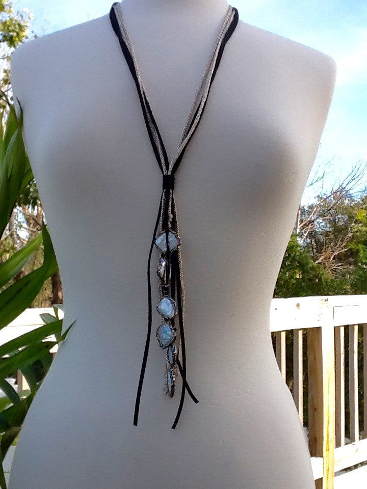Diamond Shaped Bezel Set Fresh Water Pearls on Leather - Faux Lariat