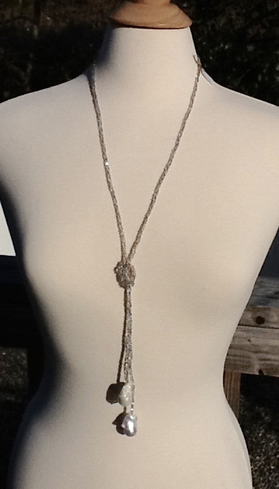 Crystal Lariat with White Baroque Pearls